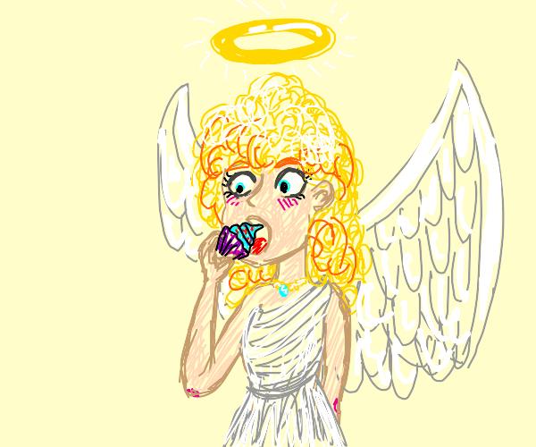 angel eating cupcake