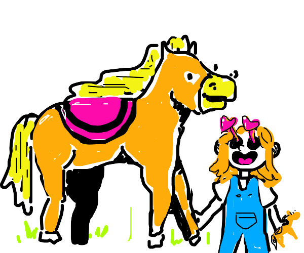 horse girl loves her horse too much