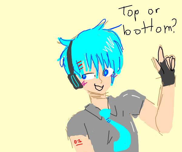 Male Miku saying top or bottom