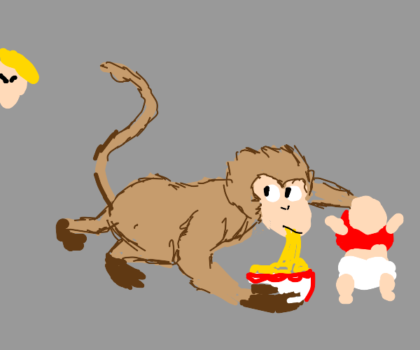Monkey steals baby and noodles. Chased by mom