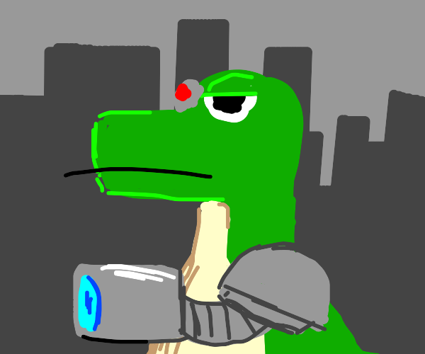 Anthropomorphic cyborg lizard dinosaur thing