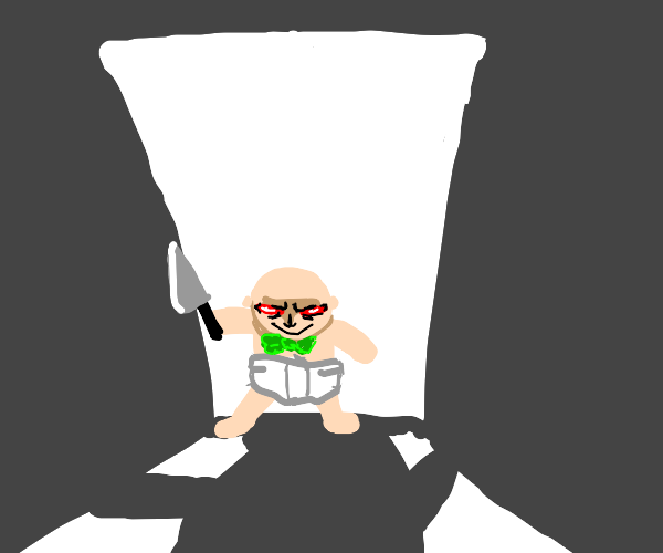 bald baby with green bow and knife
