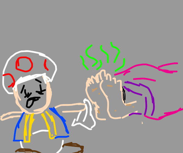 Toad cleans Peach's nasty man feet