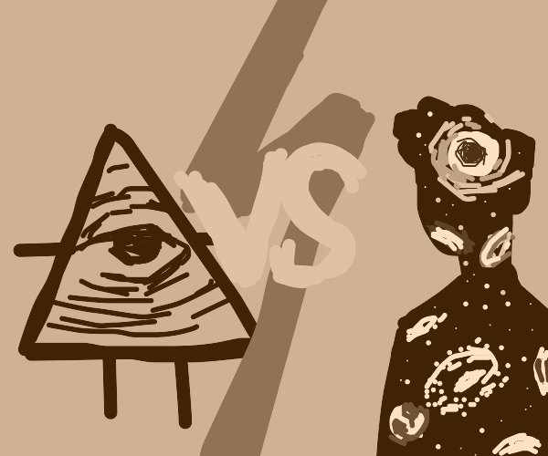Illuminati vs person made of stars/galaxies