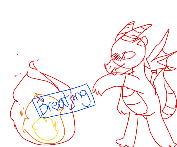 Dragon breatjimg fire