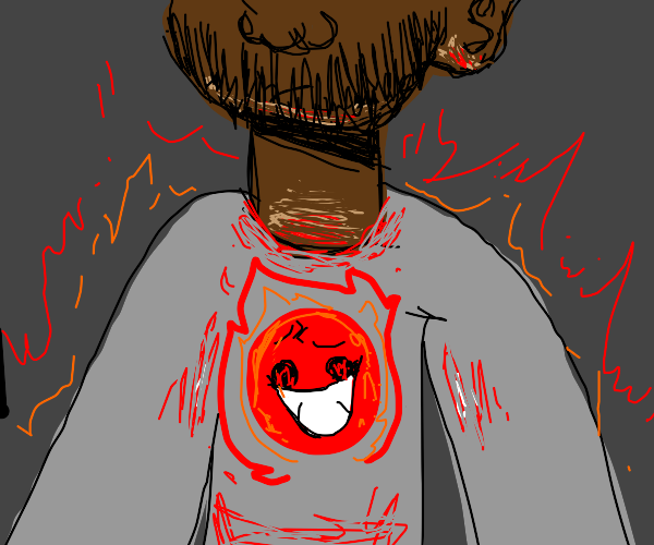 shirt of smiling red ball on fire