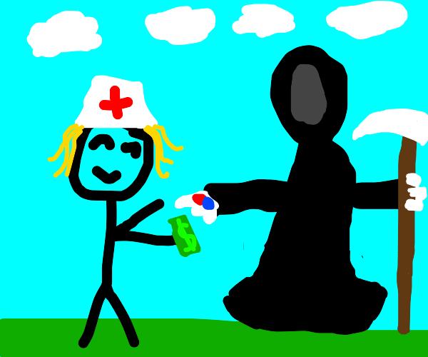 Nurse buying medicine from DEATH HIMSELF