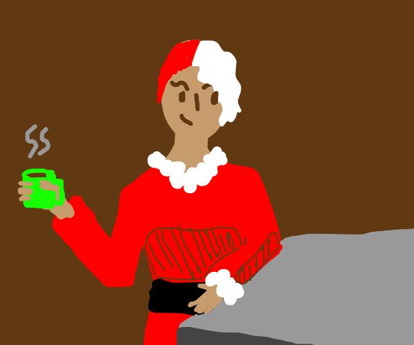 Nice looking lady in Santa attire + hot drink