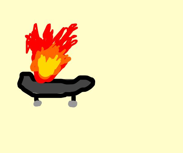 a skate on fire!