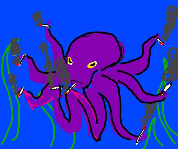 Octopus smoking eight cigarettes