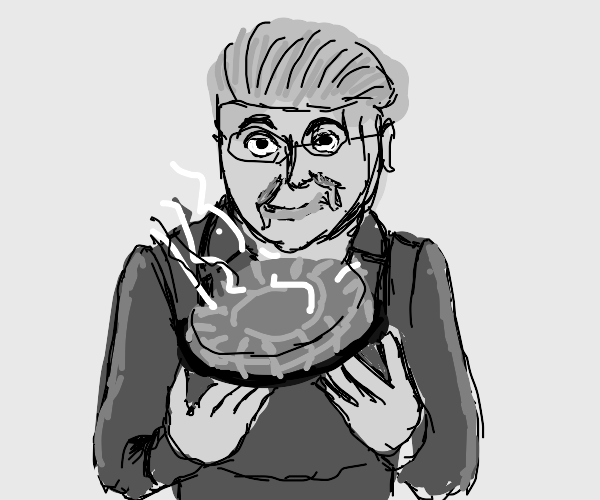 grandma watching a melting hot pie