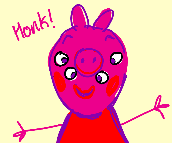 Peppa pig from a front view