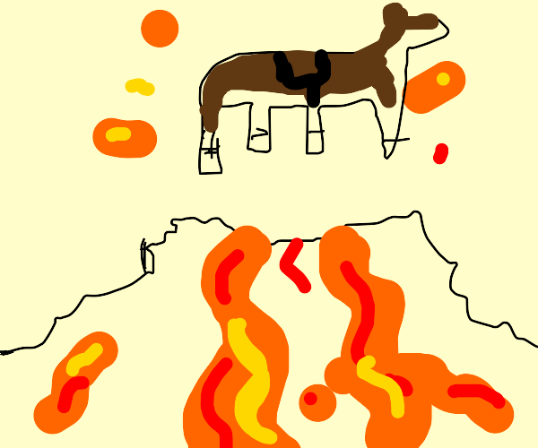 Horse fell in a volcano