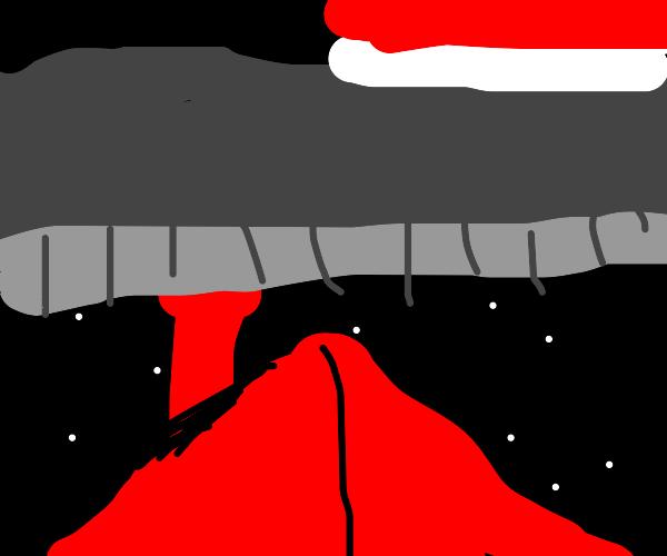 Santa is too  t h i c c  to enter chimney