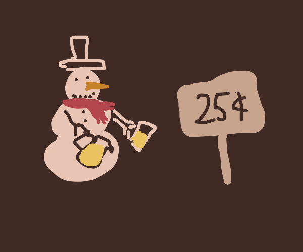 Snowman selling lemonade