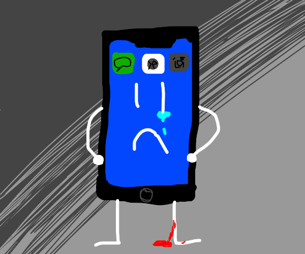 iphone cuts ankle and foot (with a face)