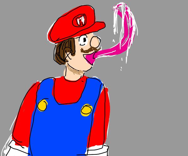 Mario with a really long tongue