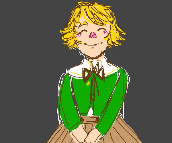 cute blonde girl in a green sweater