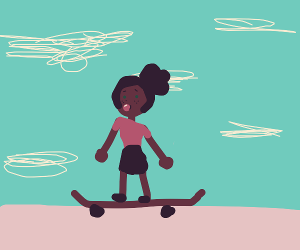 Skater woman chews bubblegum