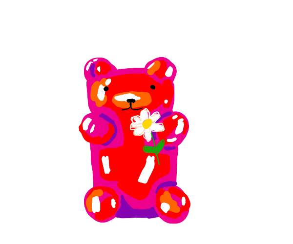 Red gummibear with flower