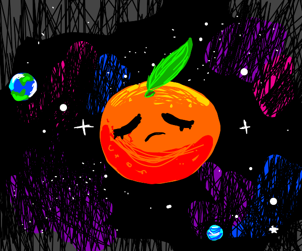 Orange lonely floating in space
