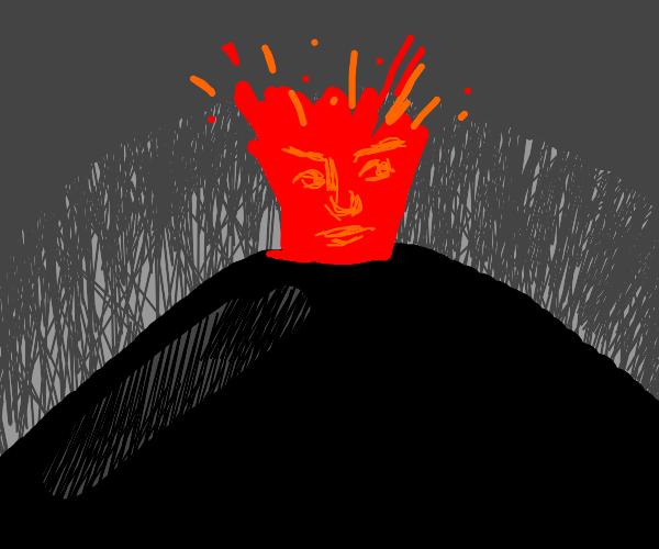 Volcano exploding a face