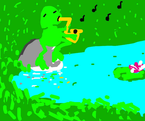Frog playing a saxophone