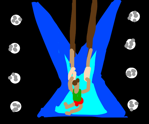 Gymnast in the rings event