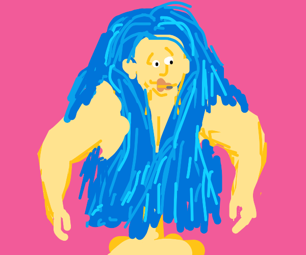 Big blue haired woman has large arms.