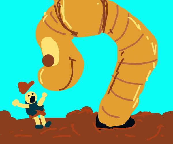 Boy afraid of giant worm