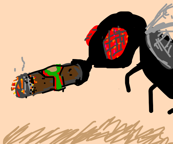 a fly puffing a cigar