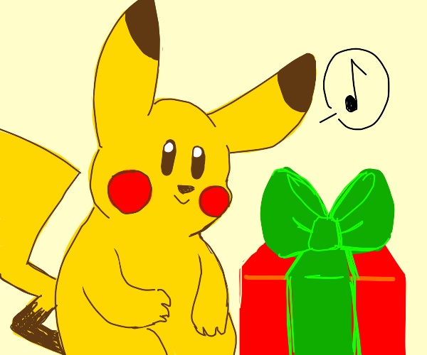 pikachu enjoying christmas with a present