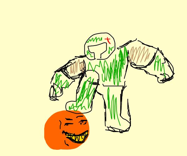Doom Guy killin a demon