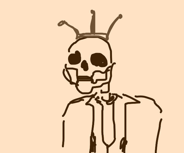 Skeleton king wearing a suit