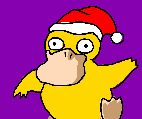 Psyduck with a Santa Hat