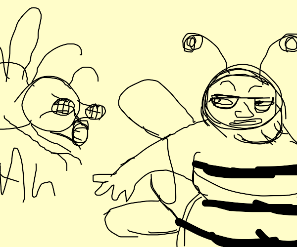 fly laughs at fat guy dressed as a bee