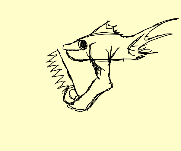 fish holding a saw