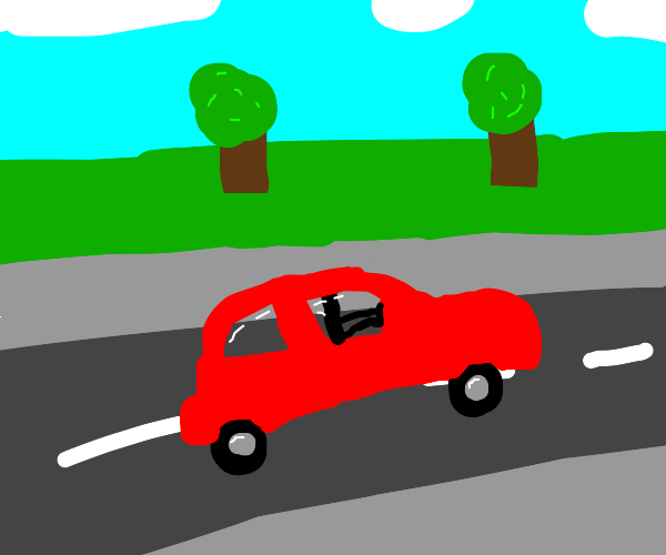 A car driving down the road