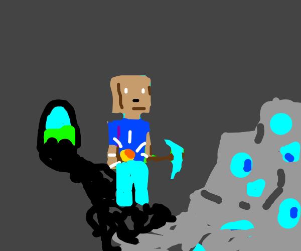 minecraft dude doin' minecraft things.