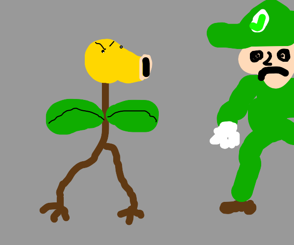 bellsprout angry at Luigi