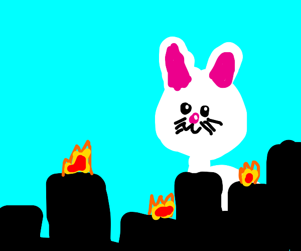 Giant rabbit is destroying the city