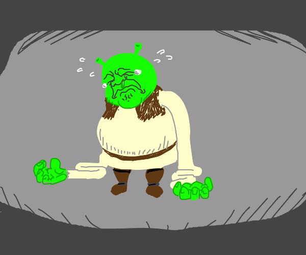 Shrek crying bc arms r halfway down his body