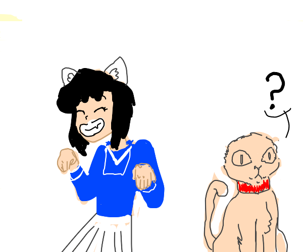 blue anime girl steals cats ears for herself