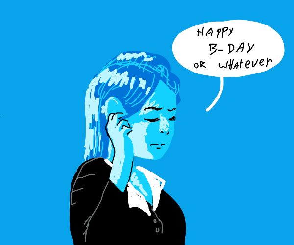 Embarrassed girl wishes you a happy birthday