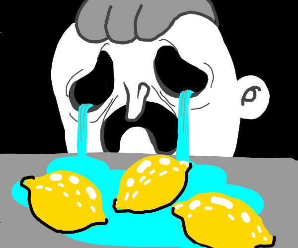 man cries because there's three lemons