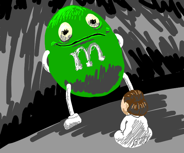 the green m&m terrorizes a child