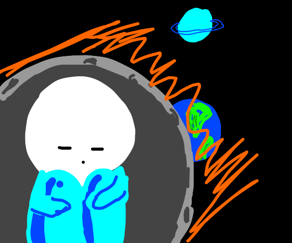 Guy stranded in asteroid in space