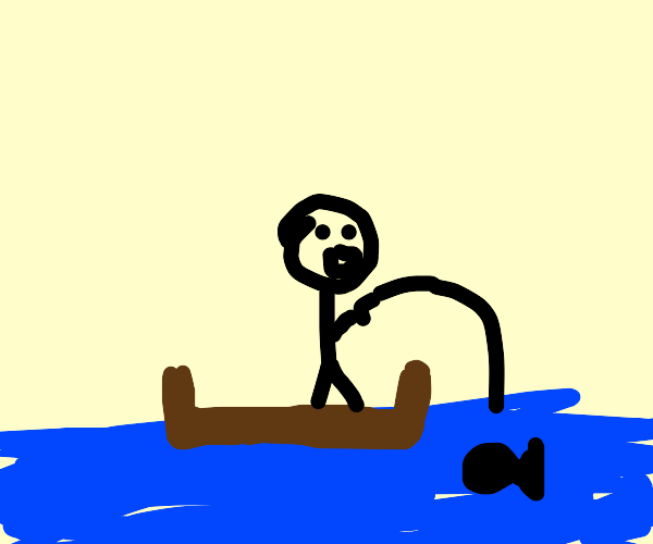 Man is fishing and is surprised