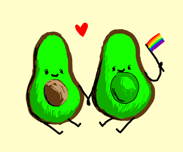 2 cute avacados being a couple