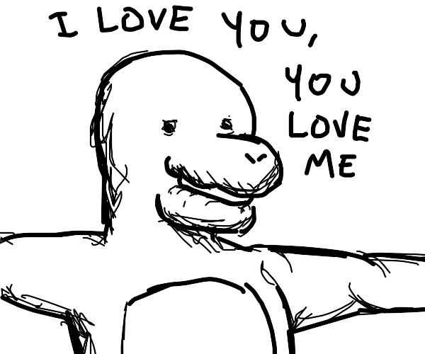 Barney the Dinosaur wants a hug